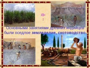 Основными занятиями древних индийцев были оседлое земледелие, скотоводство. 2