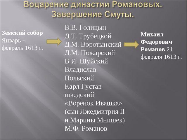 Михаил Федорович Романов 21 февраля 1613 г. В.В. Голицын Д.Т. Трубецкой Д.М....