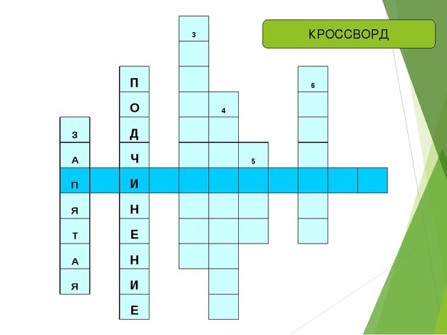 КРОССВОРД 3  П  6 О  4  З Д    А Ч   5  П  И         Я Н ...