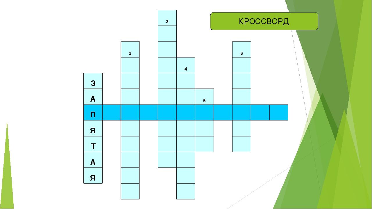 КРОССВОРД 3  2  6   4  З     А    5  П           Я  ...