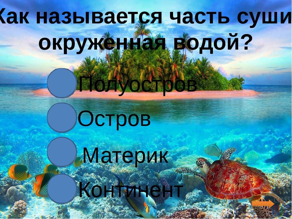 Как называется часть суши, окруженная водой? Полуостров Остров Материк Конти...