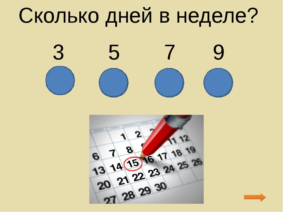Сколько дней в неделе? 3 5 7 9