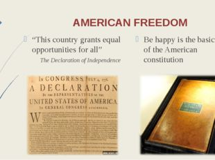"""AMERICAN FREEDOM """"This country grants equal opportunities for all"""" The Declar"""