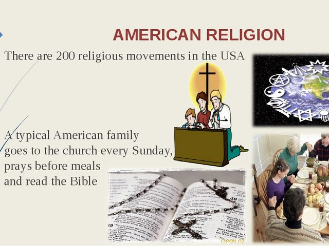AMERICAN RELIGION There are 200 religious movements in the USA A typical Amer...