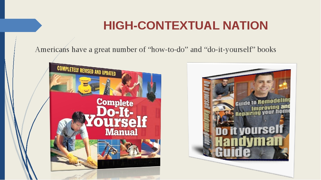 """HIGH-CONTEXTUAL NATION Americans have a great number of """"how-to-do"""" and """"do-i..."""