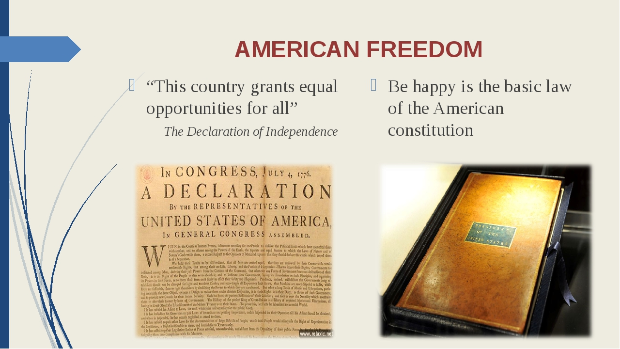 """AMERICAN FREEDOM """"This country grants equal opportunities for all"""" The Declar..."""