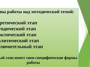 Этапы работы над методической темой: - Теоретический этап - Методический этап