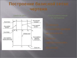 Построение базисной сетки чертежа Швейное дело Используемые знания по математ