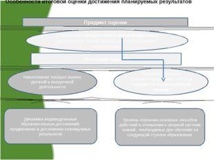Особенности итоговой оценки достижения планируемых результатов Предмет оценки