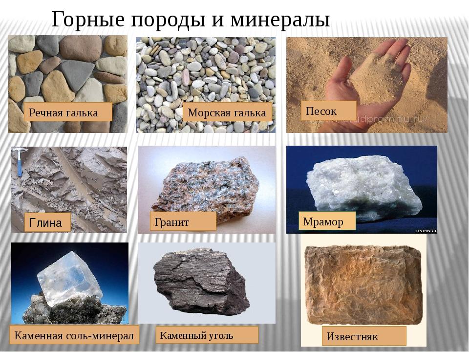Горные породы и минералы Речная галька Морская галька Песок Глина Гранит Мрам...