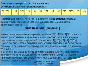 В нашем примере Т - это имя массива. Элементы массива пронумерованы. Порядков