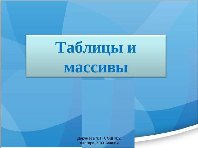 Дарчиева З.Т. СОШ №2 Алагира РСО-Алания Дарчиева З.Т. СОШ №2 Алагира РСО-Алания