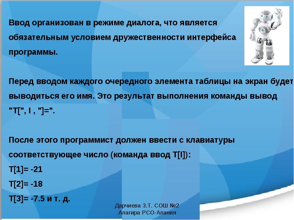 Дарчиева З.Т. СОШ №2 Алагира РСО-Алания Ввод организован в режиме диалога, чт...