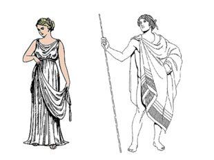 Обрати внимание на греческие костюмы. Женщины одеты в лёгкие хитоны рубахи из
