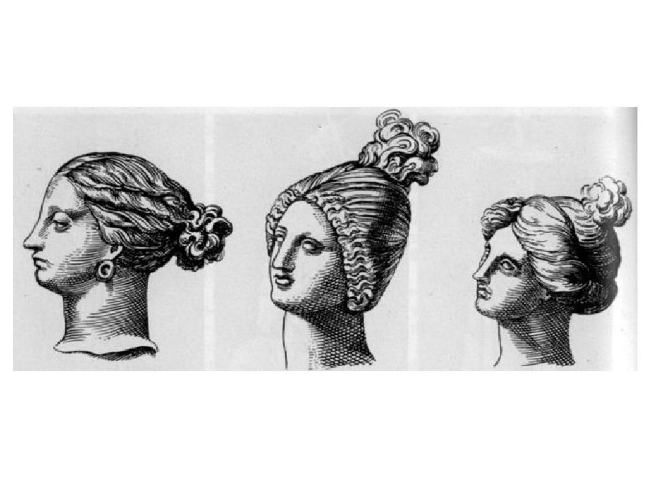 Женские причёски гречанок красивы. Волосы собраны в пучки и завиты в локоны.