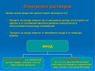 Электролиз растворов Кроме ионов вещества присутствуют молекулы Н2О Процесс н