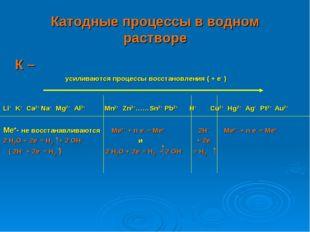 Катодные процессы в водном растворе К – усиливаются процессы восстановлен