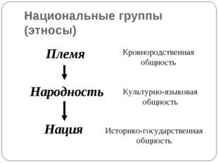 Национальные группы (этносы) Племя Народность Нация Кровнородственная общност