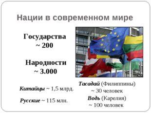 Нации в современном мире Государства ~ 200 Народности ~ 3.000 Русские ~ 115 м