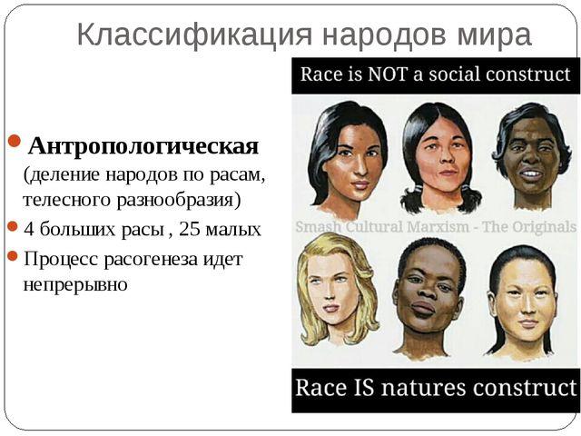 Классификация народов мира Антропологическая (деление народов по расам, телес...