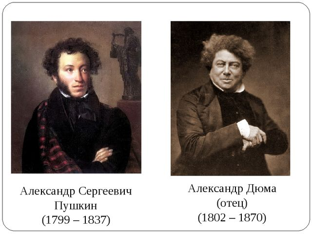 Александр Сергеевич Пушкин (1799 – 1837) Александр Дюма (отец) (1802 – 1870)