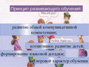 Принцип развивающего обучения: развитие общей коммуникативной компетенции; к