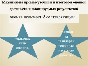 «накопленные оценки» «оценки за стандартизованные итоговые работы» Механизмы