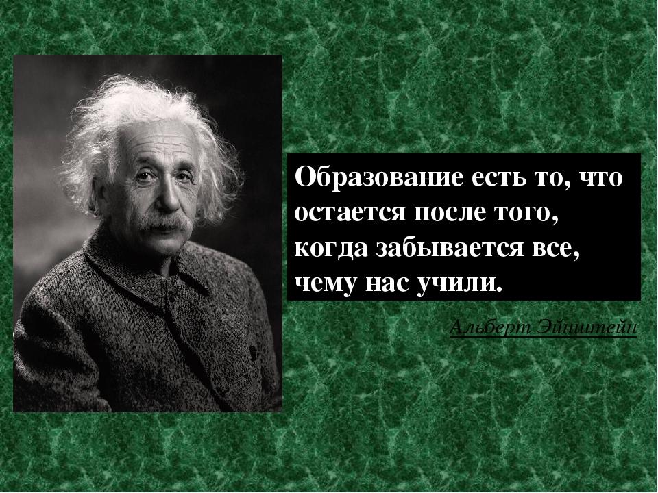 Образование есть то, что остается после того, когда забывается все, чему нас...