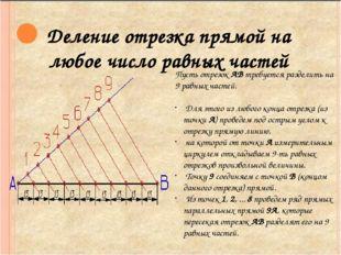 Деление отрезка прямой на любое число равных частей Пусть отрезок АВ требует