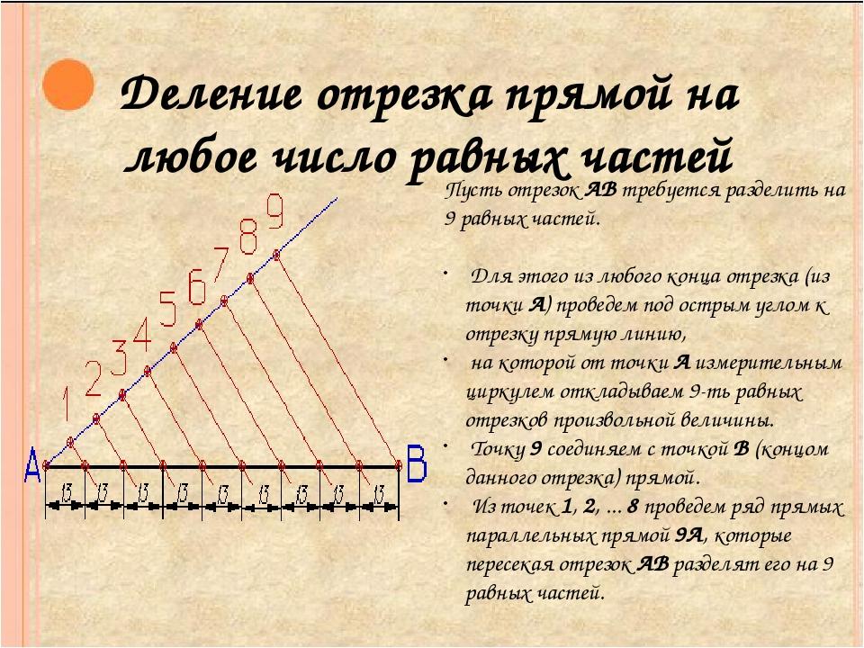 Деление отрезка прямой на любое число равных частей Пусть отрезок АВ требует...