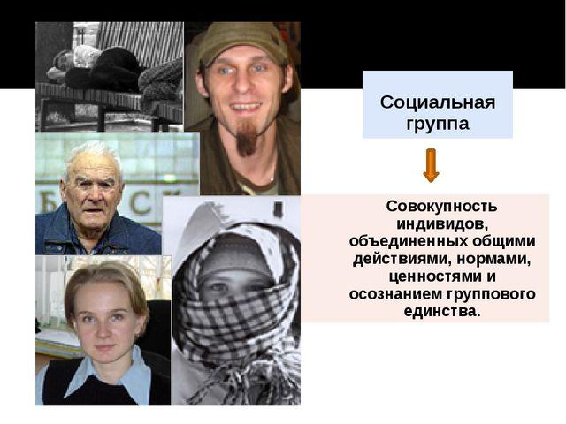 Социальная группа Cовокупностьиндивидов, объединенных общими действиями, нор...