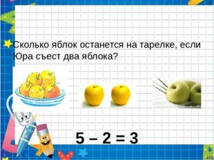 Сколько яблок останется на тарелке, если Юра съест два яблока? - = 5 – 2 = 3