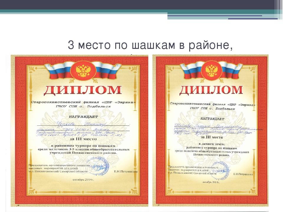 3 место по шашкам в районе, Уздяев Никита, Шабаева Г.М.- 2014 год Шабаева Г....