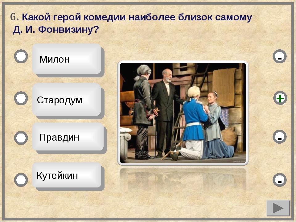 6. Какой герой комедии наиболее близок самому Д. И. Фонвизину? Милон Стародум...