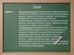Урок Задачи:Воспитательные (формирование коммуникативных и личностных УУД):
