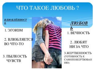 ЧТО ТАКОЕ ЛЮБОВЬ ? ВЛЮБЛЁННОСТЬ ЛЮБОВЬ 1. ЭГОИЗМ 2. ВЛЮБЛЯЕТСЯ ВО ЧТО-ТО 3. П