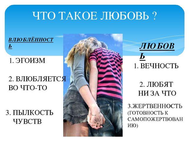 ЧТО ТАКОЕ ЛЮБОВЬ ? ВЛЮБЛЁННОСТЬ ЛЮБОВЬ 1. ЭГОИЗМ 2. ВЛЮБЛЯЕТСЯ ВО ЧТО-ТО 3. П...