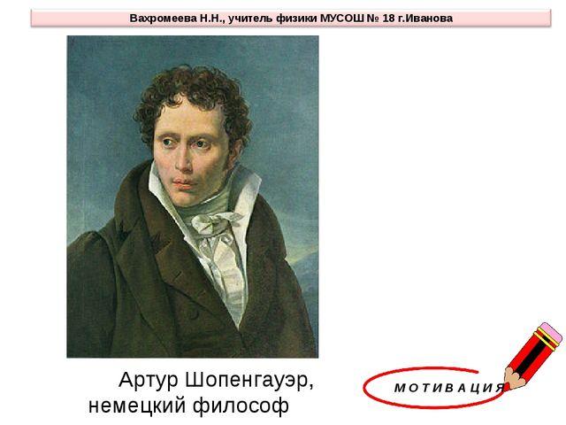 М О Т И В А Ц И Я Артур Шопенгауэр, немецкий философ XIX в.