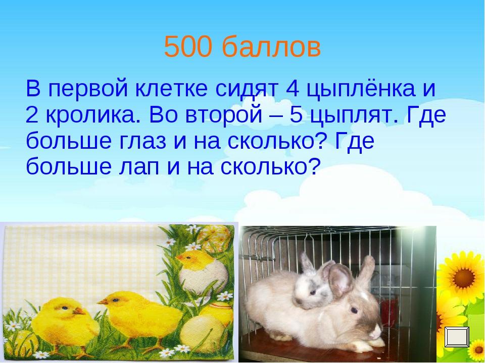 500 баллов В первой клетке сидят 4 цыплёнка и 2 кролика. Во второй – 5 цыплят...
