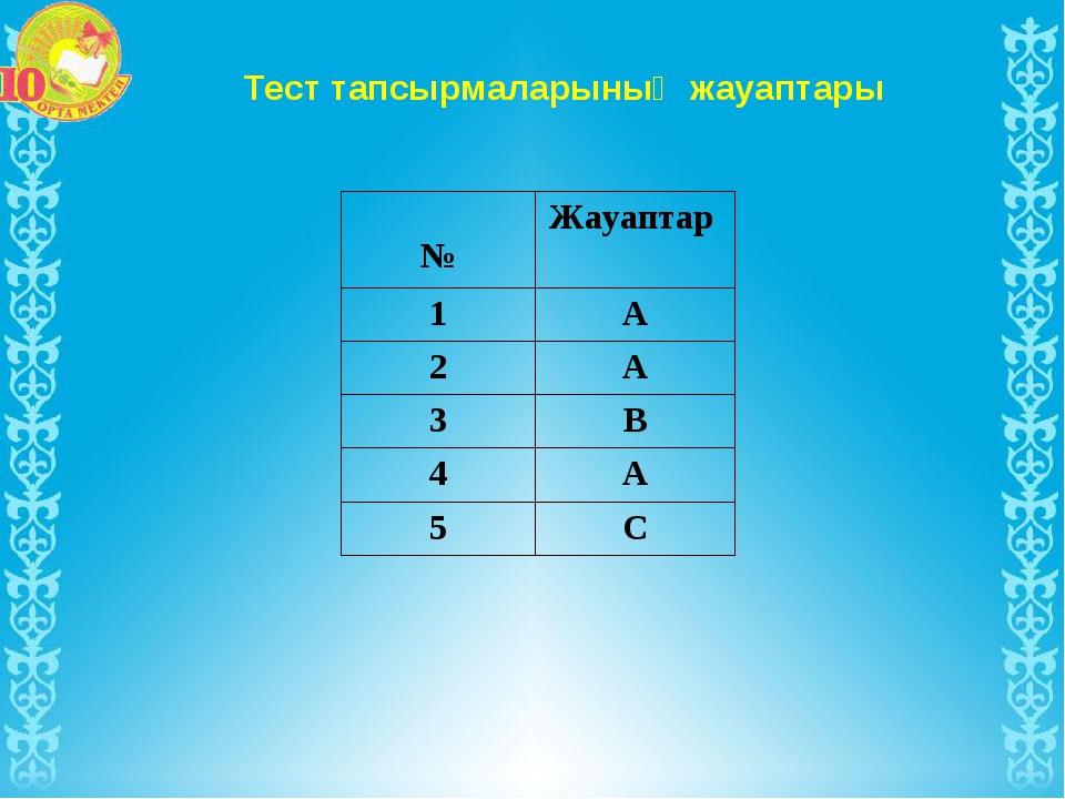 Тест тапсырмаларының жауаптары №Жауаптар 1А 2А 3В 4А 5С