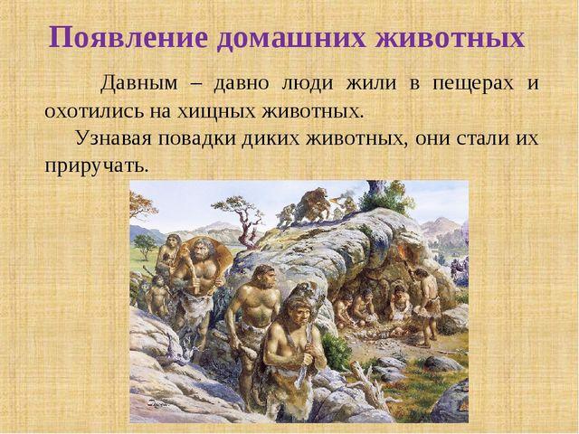 Появление домашних животных Давным – давно люди жили в пещерах и охотились на...