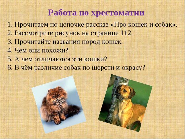 Работа по хрестоматии 1. Прочитаем по цепочке рассказ «Про кошек и собак». 2....