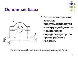 * Основные базы Это те поверхности, которые предусматриваются конструкцией де