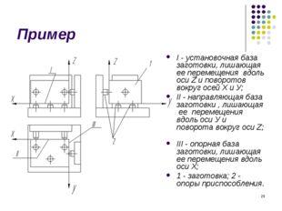 * Пример I - установочная база заготовки, лишающая ее перемещения вдоль оси Z