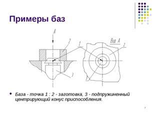 * Примеры баз База - точка 1 : 2 - заготовка, 3 - подпружиненный центрирующий