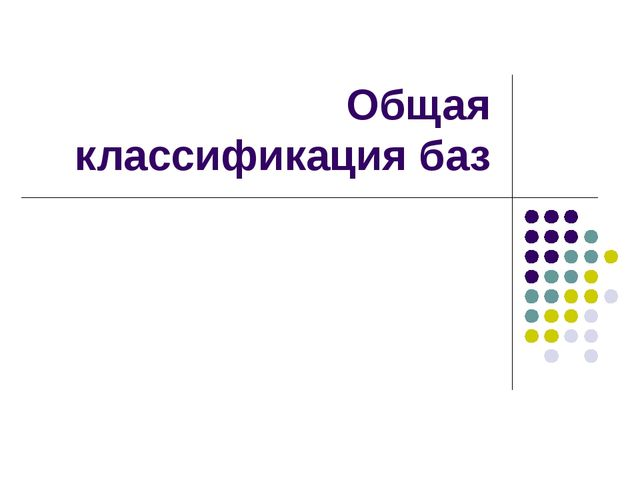 Общая классификация баз