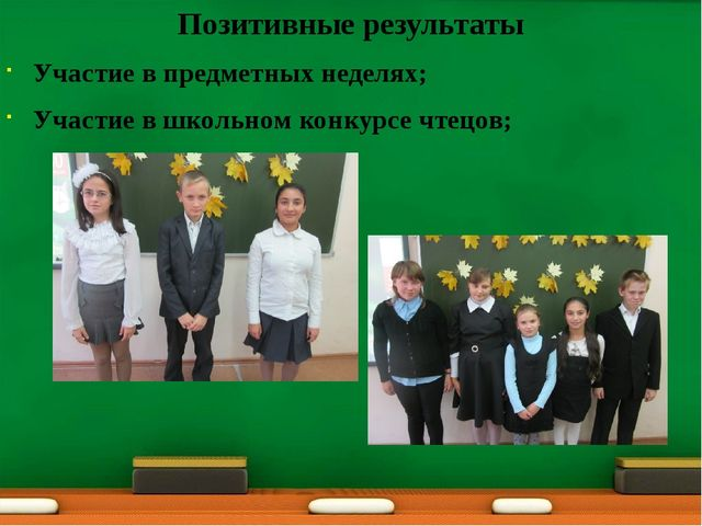 Позитивные результаты Участие в предметных неделях; Участие в школьном конку...
