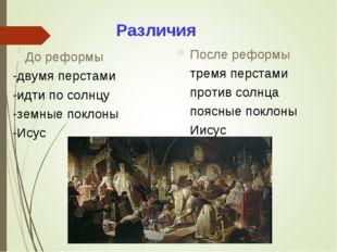Различия После реформы тремя перстами против солнца поясные поклоны Иисус До