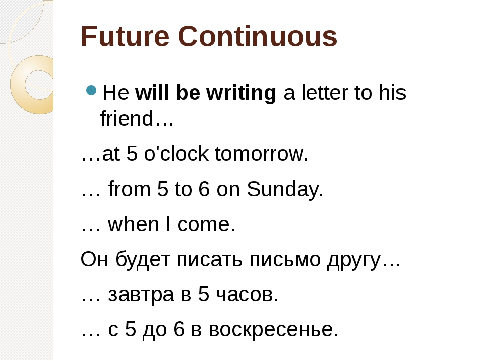 Future Continuous Hewill be writinga letter to his friend… …at 5 o'clock to...