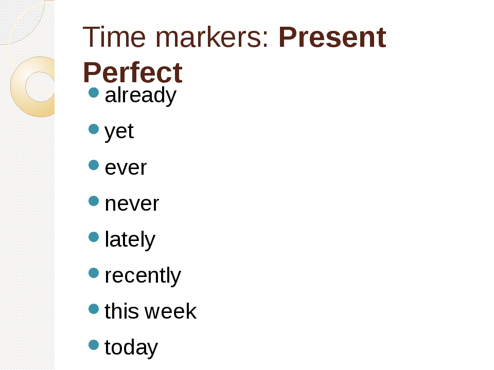 Time markers: Present Perfect already yet ever never lately recently this wee...